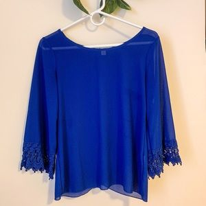 Blue blouse w/ lace sleeves